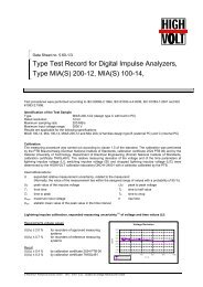 Type Test Record for Digital Impulse Analyzers, Type MIA(S) - Highvolt