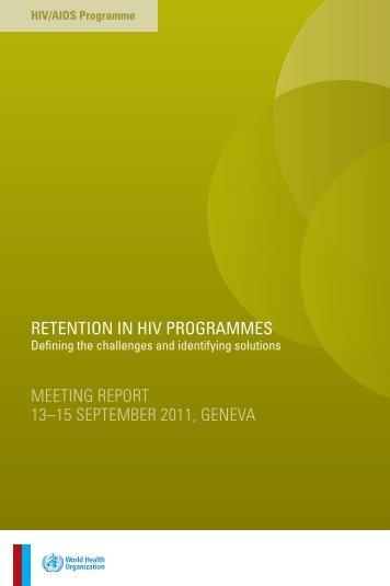 Retention in HIV programmes - libdoc.who.int - World Health ...