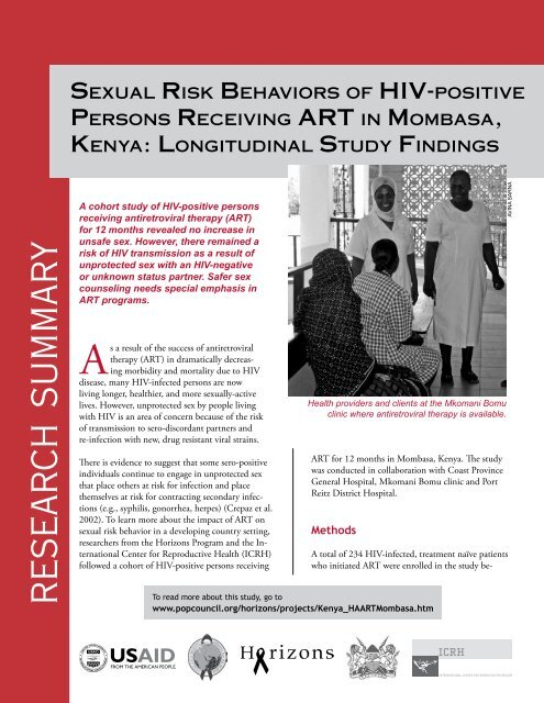 Sexual risk behaviors of HIV-positive persons receiving ART