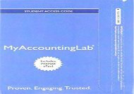 [+][PDF] TOP TREND NEW MyAccountingLab with Pearson eText - Access Card - for Financial   Managerial Accounting, Ch 14-24 (Managerial Chapters) (MyAccountingLab (Access Codes))  [FREE]
