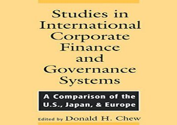 [+]The best book of the month Studies in International Corporate Finance and Governance Systems: A Comparison of the U.S, Japan, Europe: A Comparison of the US, Japan and Europe  [FULL]