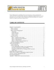 TABLE OF CONTENTS - Creative Industries Research Institute