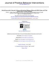 Journal of Positive Behavior Interventions - Gevirtz School of ...
