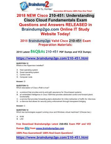 [2018-July-New]Braindump2go 210-451 PDF Dumps 86Q Free Share(12-22)