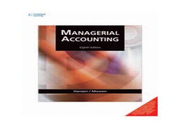 [+][PDF] TOP TREND Managerial Accounting 8/e (PB)  [FREE]