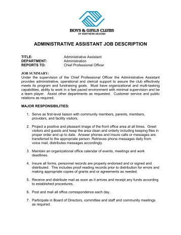 Administrative Assistant Job Description   Boys U0026 Girls Clubs Of .