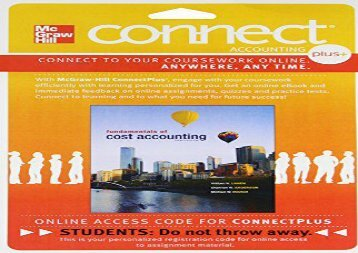 [+][PDF] TOP TREND Connect 1-Semester Access Card for Fundamentals of Cost Accounting  [FULL]
