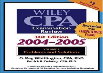 [+]The best book of the month Wiley CPA Examination Review: Problems and Solutions v. 2 (Wiley CPA Examination Review Vol. 2: Problems   Solutions)  [DOWNLOAD]