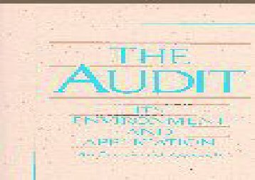 [+]The best book of the month The Audit: Its Environment and Applications  [DOWNLOAD]