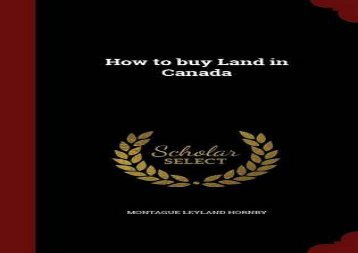 [+]The best book of the month How to buy Land in Canada  [READ]