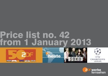 Price list no. 42 from 1 January 2013 - ZDF Werbefernsehen
