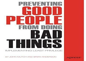 [+][PDF] TOP TREND Preventing Good People From Doing Bad Things: Implementing Least Privilege  [NEWS]