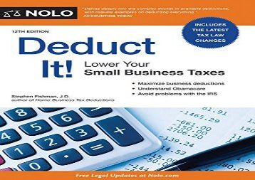 [+]The best book of the month Deduct It!: Lower Your Small Business Taxes  [NEWS]