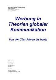 Werbung in Theorien globaler Kommunikation Von den 70er Jahren ...