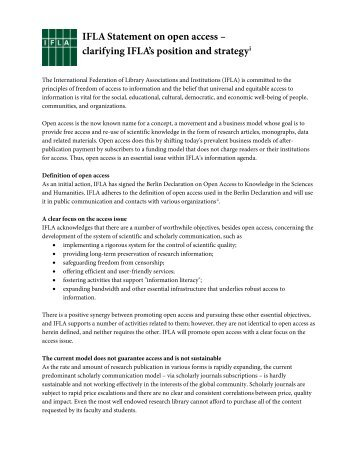 IFLA Statement on open access – clarifying IFLA's position and ...
