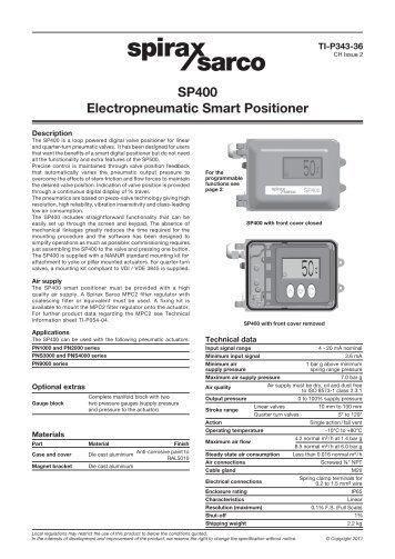 Sp400 smart positioner spirax sarco.