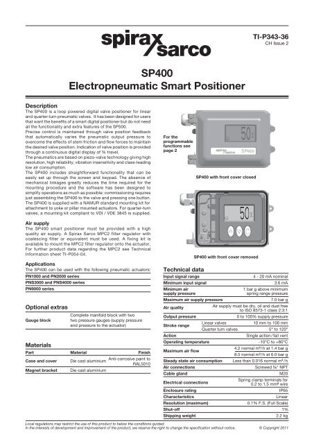 Positioners, controllers and sensors | control systems | spirax.