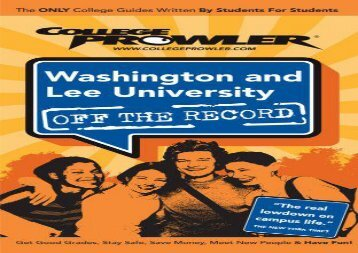 [+]The best book of the month Washington and Lee University: Off the Record (College Prowler: Washington   Lee University Off the Record)  [FULL]