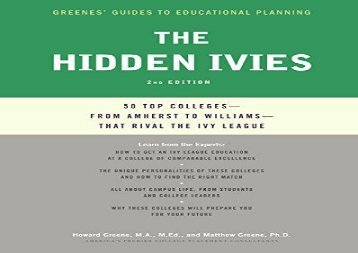 [+][PDF] TOP TREND Hidden Ivies, 2nd Edition, The (Greenes  Guides to Educational Planning)  [FREE]