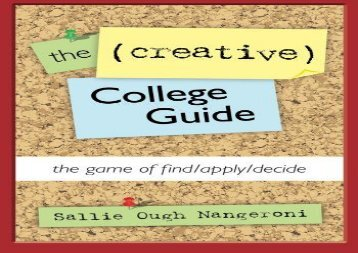 [+]The best book of the month The (Creative) College Guide: the game of find/apply/decide  [NEWS]