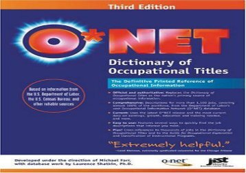 [+][PDF] TOP TREND O*NET Dictionary of Occupational Titles  [DOWNLOAD]