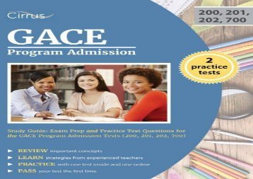 [+][PDF] TOP TREND GACE Program Admission Study Guide: Exam Prep and Practice Test Questions for the GACE Program Admission Tests (200, 201, 202, 700)  [DOWNLOAD]