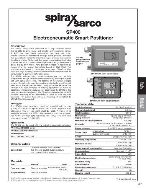 Sp400 electropneumatic smart positioner spirax sarco.