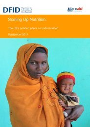 Scaling up nutrition: The UK's position paper on undernutrition - DfID