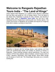 """Welcome to Rangeelo Rajasthan Tours India - """"The Land of Kings"""""""