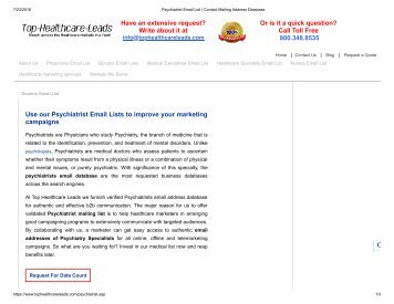 Psychiatrist Mailing List - Top Healthcare Leads