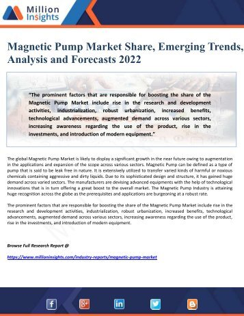 Magnetic Pump Market Share, Emerging Trends, Analysis and Forecasts 2022