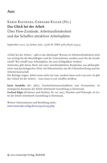 Karin Kaudelka, Gerhard Kilger (Hg.) Das Glück ... - transcript Verlag