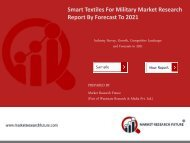 Smart Textiles For Military Market Research Report – Global Forecast 2016-2021