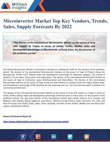 Microinverter Market Top Key Vendors, Trends, Sales, Supply Forecasts By 2022
