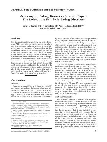 Academy for eating disorders position paper ... - Maudsley Parents