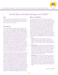 Position Paper on the Role and Impact of the IBCLC - International ...