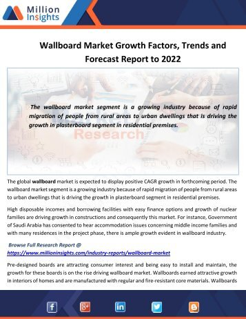 Wallboard Market Outlook, End Users Analysis and Share by Type to 2022