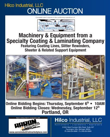 Machinery & Equipment from a Specialty Coating ... - Hilco Industrial