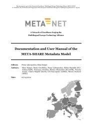 Documentation and User Manual of META-SHARE ... - Meta-Net