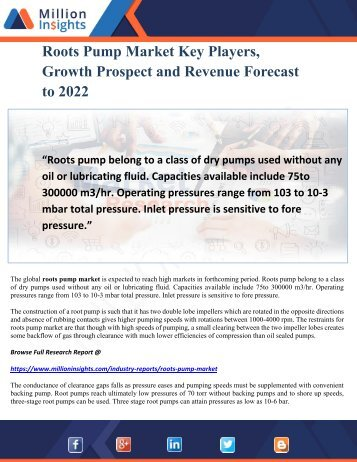 Roots Pump Market Key Players, Growth Prospect and Revenue Forecast to 2022