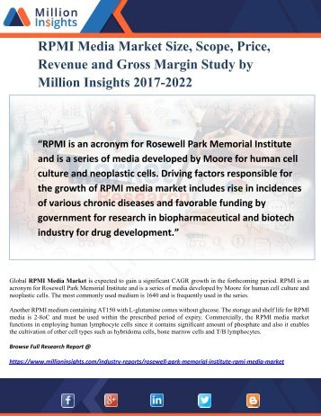 RPMI Media Market Size, Scope, Price, Revenue and Gross Margin Study by Million Insights 2017-2022