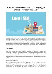 Why You Need to Hire Local SEO Company for Expand Your Business Locally