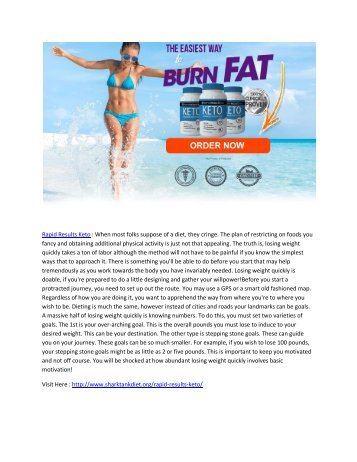 Rapid Results Keto - Suppressing Of Hunger And Over Eating