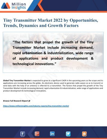 Tiny Transmitter Market 2022 by Growing Demand, Driving Force Key Factors and Analysis
