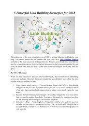5 Powerful Link Building Strategies for 2018