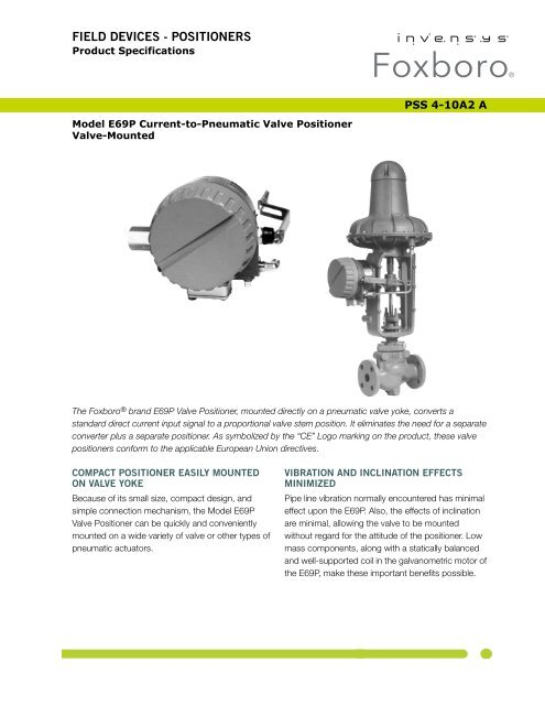 PSS 4-10A2 A] Model E69P Current-to-Pneumatic Valve Positioner