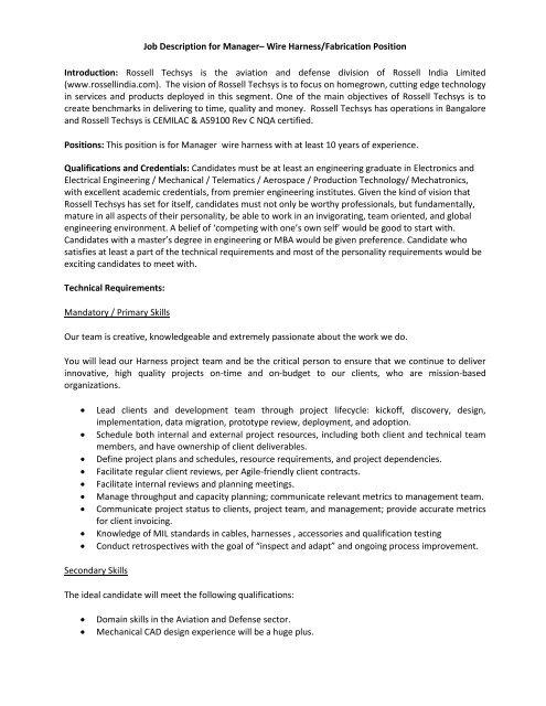 Job Description for Manager– Wire Harness ... - Rossell TechsysYumpu