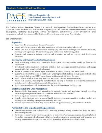 Graduate Assistant Residence Director Job ... - Pace University