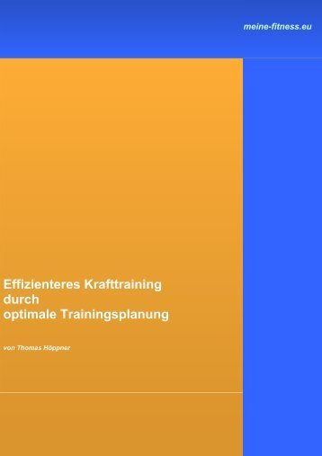 Effizienteres Krafttraining durch optimale Trainingsplanung - Fitness ...