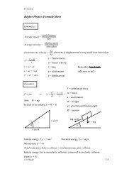 Higher Physics Formula Sheet